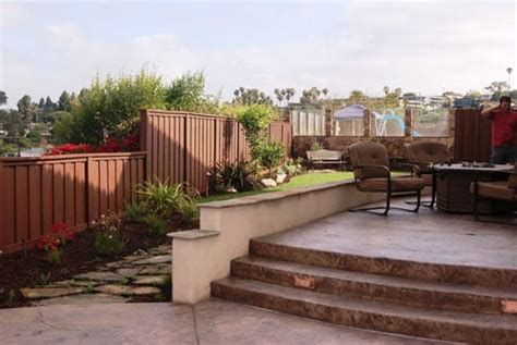 sted concrete stairs raised patio with stucco finish