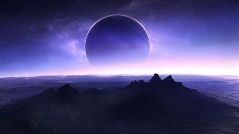 landscape mountain digital art night sky planet earth