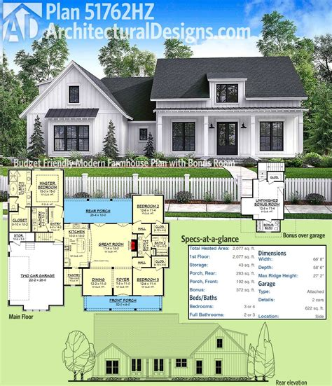 farmhouse floorplans plan 51762hz budget friendly modern farmhouse plan with bonus room architectural designs