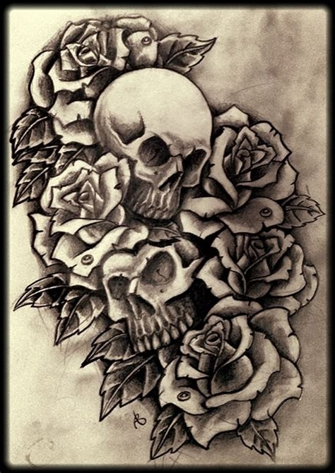 skulls and roses 6b by 76bev on deviantart