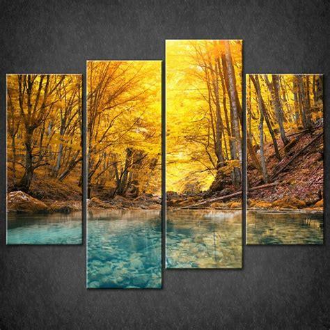 canvas prints forest autumn river split canvas wall art pictures prints