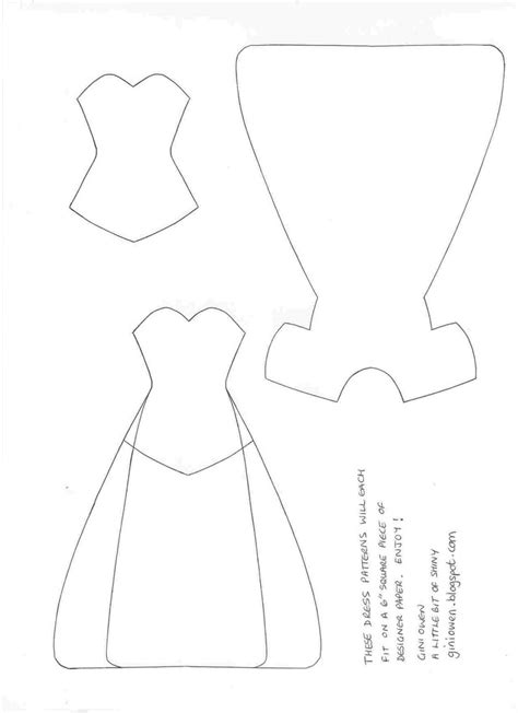 Dress Card Template by A Bit Of Shiny Paper Dresses Template Bordados E