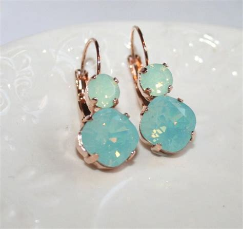 green opal earrings mint earrings opal rhinestone gold earrings
