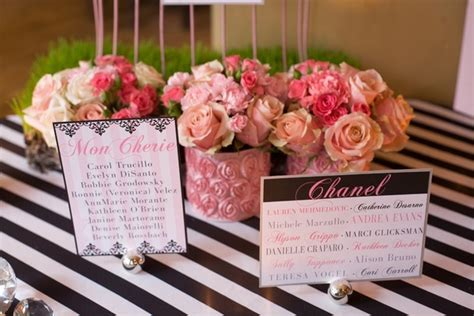 rose themed names black white pink fashion themed bridal shower inside