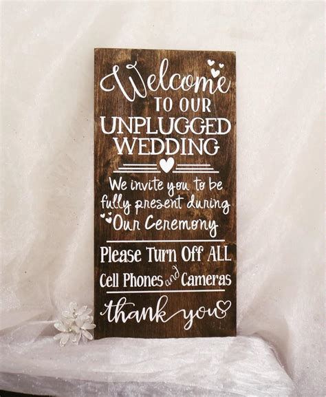 wedding ceremony welcome sign welcome to our unplugged wedding sign unplugged wedding