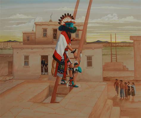 hopi talavai katsina exiting kiva painting  raymond naha