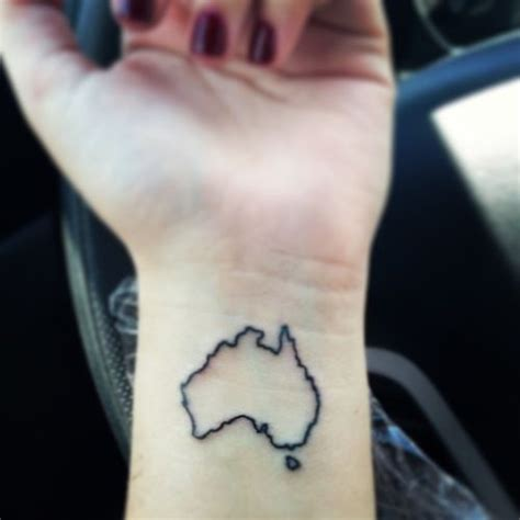 australia small wrist tattoo map ink samantha this home
