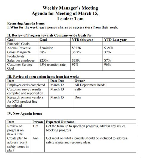 Weekly Agenda Template   9  Free Download for PDF , Word