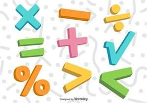 vector 3d colorful math symbols free vector