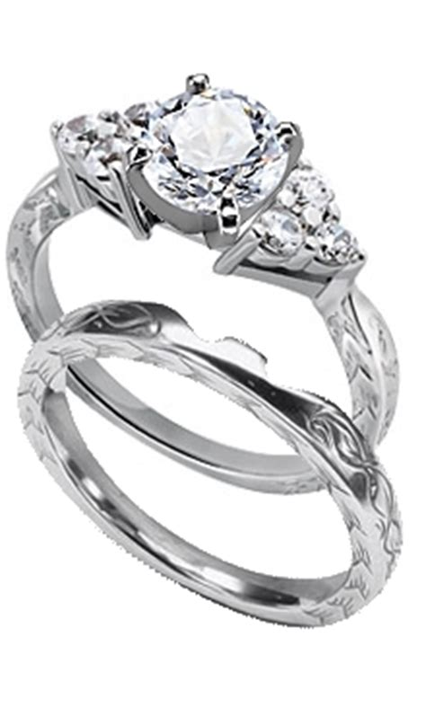 14k white gold engraved engagement ring with six side