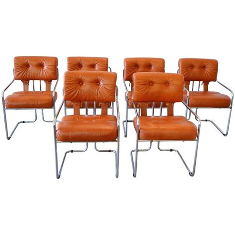 Chrome Leather Dining Chairs Leather And Chrome Tucroma Dining Chairs For Pace Set Of Six For Sale At 1stdibs