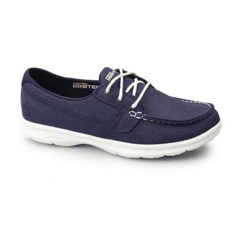skechers go step boat shoe skechers go step riptide ladies lace up boat shoes navy