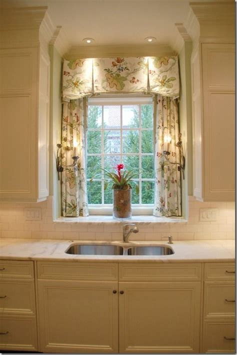 cute kitchen window curtains inverted pleat valance with trim over panels in sink
