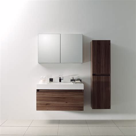 Designer Bathroom Vanities The Bagno Lusso Resin Vanity Unit Walnut Finish