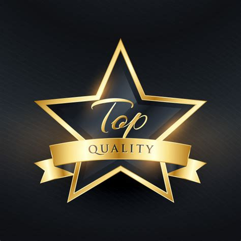 best quality top quality luxury label design with golden ribbon vector