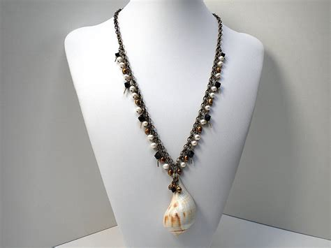 shells for jewelry s shells pear whelk shell necklace with freshwater pearls