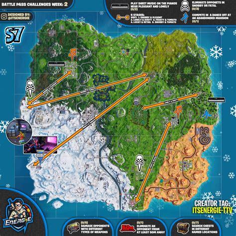 fortnite week 2 challenges fortnite sheet map for season 7 week 2 challenges