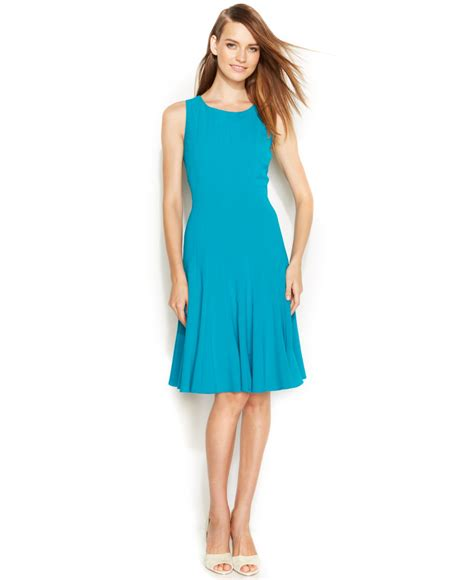 Sleeveless Pleated A Line Dress lyst calvin klein sleeveless pleated a line dress in blue