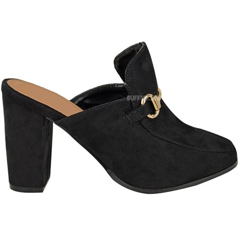 womens backless shoes womens slip on backless mules block high heels