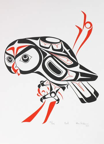 haida native american bird tattoo owl 1977 by glen rabena adopted haida artist gr1977 01