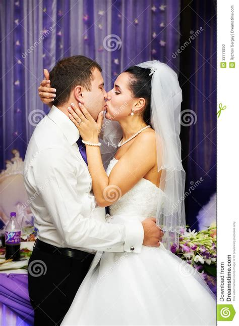 Romantic Kiss Bride And Groom Photo Image