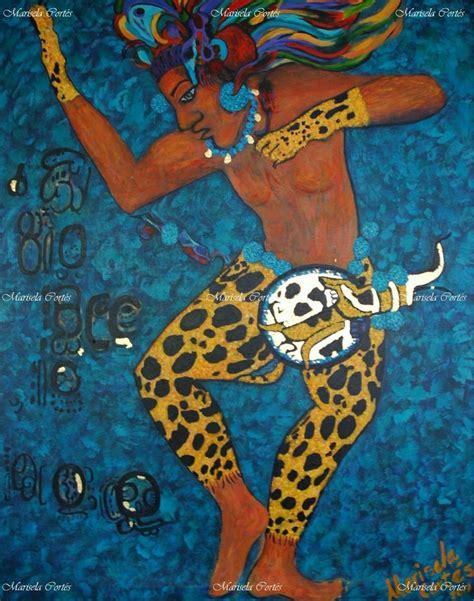 imagenes de jaguar maya danzante y guerrero maya pintura original azul valiente