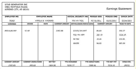 sle of pay stub template free 10 make check stubs freeagenda template sle