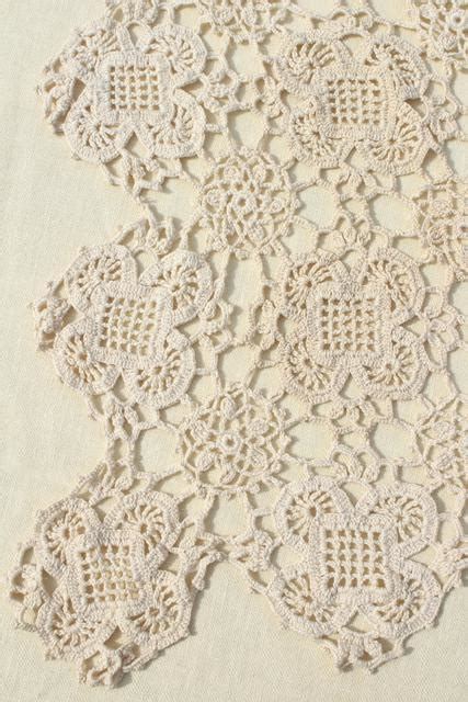 pattern of vintage crochet lace in an ecru color handmade crochet lace tablecloth lacy shabby chic vintage