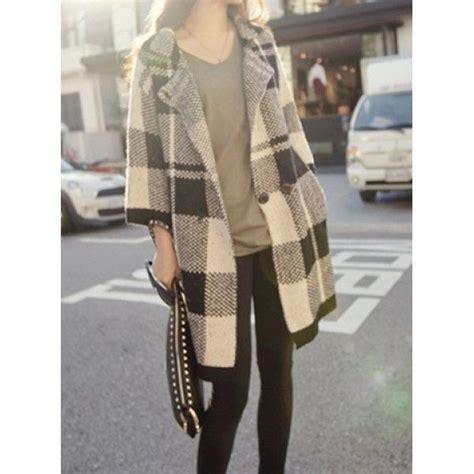Atasan U063 Plaid Collar Sleeve plaid sleeve turn collar pockets design s cardigan plaid coat sleeve and