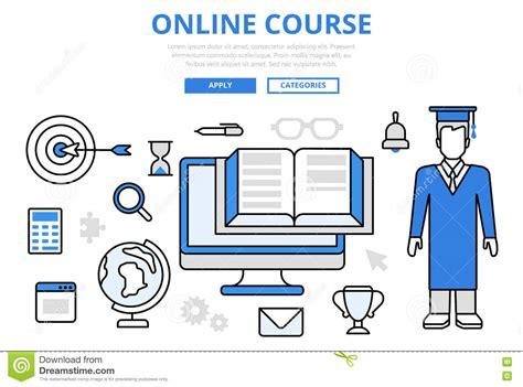 concept design university course online education study course concept flat line art vector