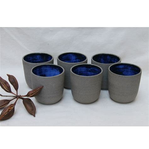 Ceramic Cup handmade ceramic cup in grey and cobalt blue homeware