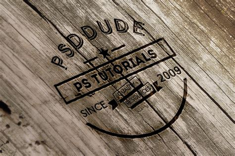 logo design photoshop tutorials psddude create an engraved wood logo in photoshop photoshop