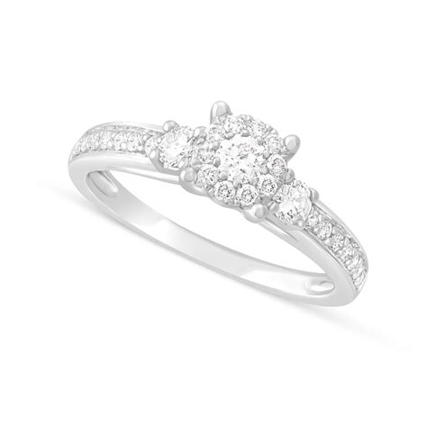 9ct white gold 0 50 carat cluster engagement ring