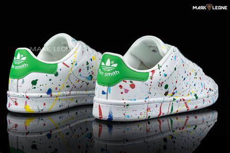 handmade custom adidas stan smith painting colour mark leone