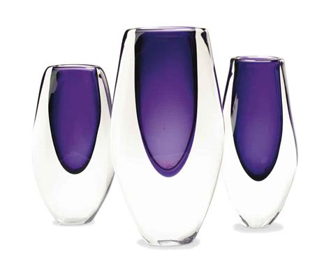 Purple Vases For Sale Reece A Set Of Three Purple And Clear Blown Glass