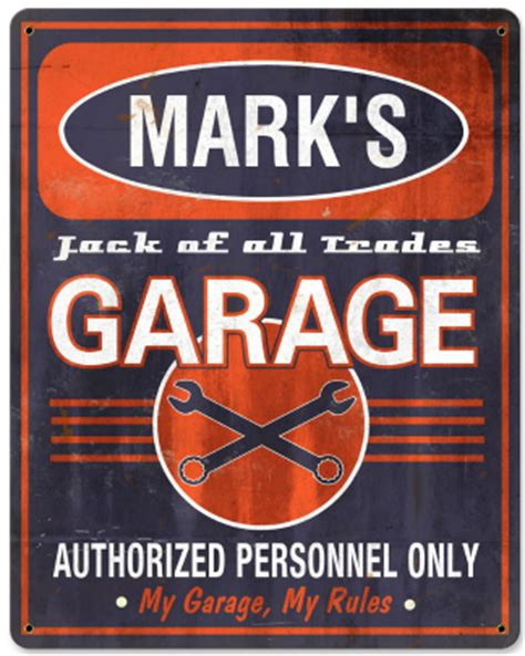 personalized garage vintage metal sign of all trades