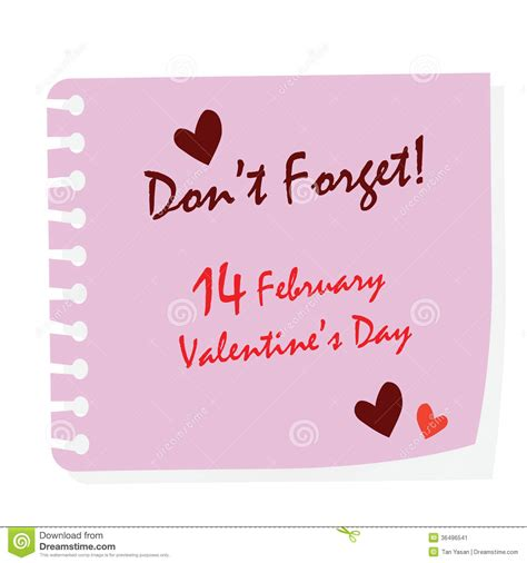 dont forget valentines day day stick stock vector illustration of color