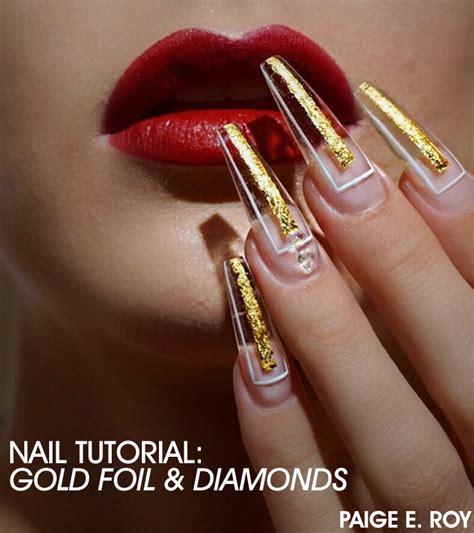 nail art tutorial ita nail art gold foil best nail 2017