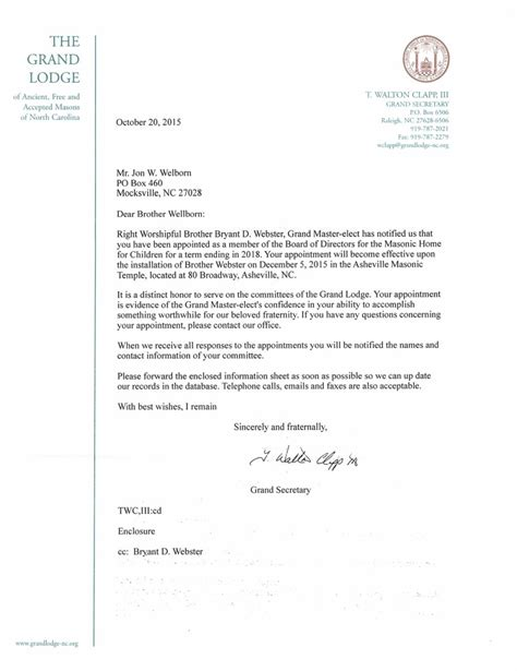 appointment letter committee member appointment to the board of directors jon welborn