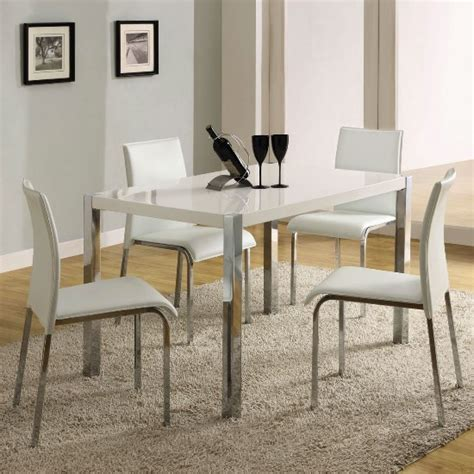 stefan high gloss white dining table and 4 chairs 4668