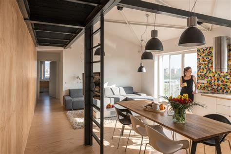 ladder rustic architecture warm interior design living industrial style in harmony with warm natural materials in