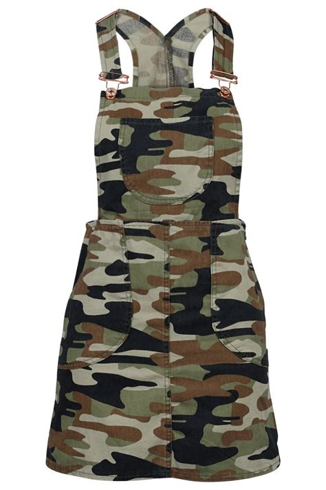 Printed Denim Pinafore Dress 84t womens green army printed denim dungarees