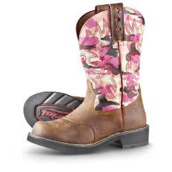 s ariat 174 probaby western boots pink camo 188740