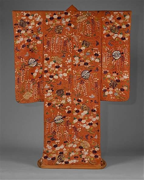 B585 Flower Pattern Kimono Outer outer robe uchikake with fans and flowers second half