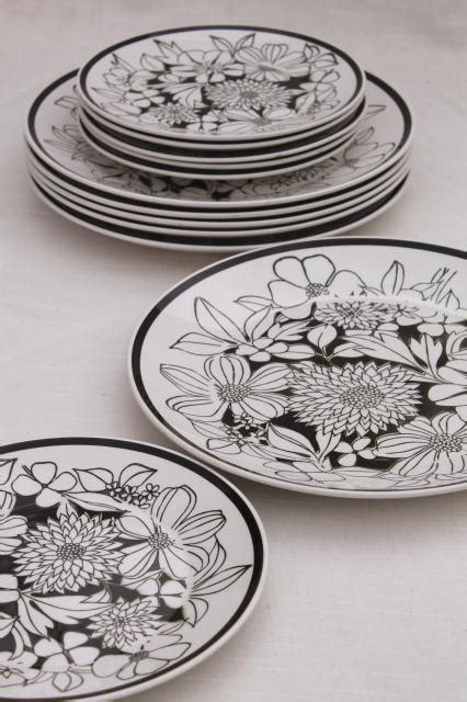 black and white pattern dishes mikasa bouquet mod vintage black white floral china