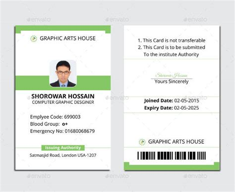 free employee business cards templates id card template 29 free psd vector eps png format
