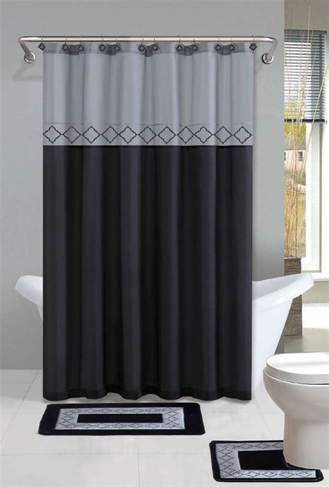 Bathroom Sets With Shower Curtain And Rugs And Accessories Gray Black Modern Shower Curtain 15 Pcs Bath Rug Mat Contour Hooks Bathroom Set Ebay