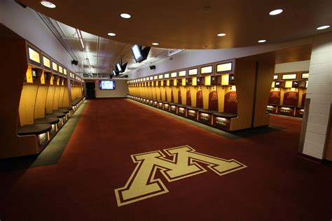 uni locker room of minnesota football locker room architect magazine minneapolis mn united