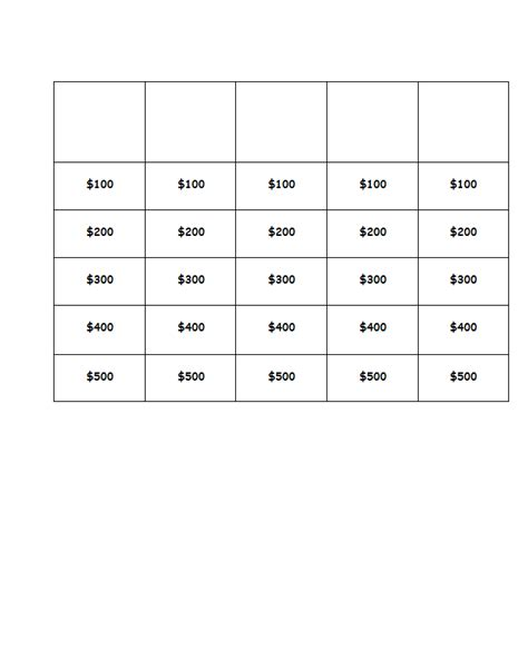 jeopardy printable template blank jeopardy template white gold