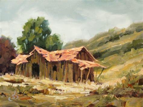 Landscape Artists Buildings Rural Abandoned Building Landscape 8x6 In